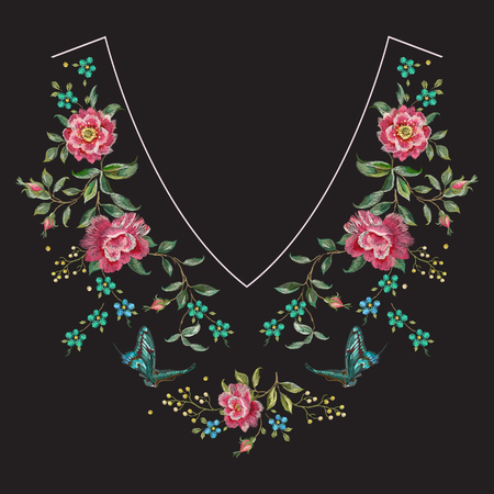 Embroidery neck line floral pattern with roses. Vector embroidered flowers for clothing design.