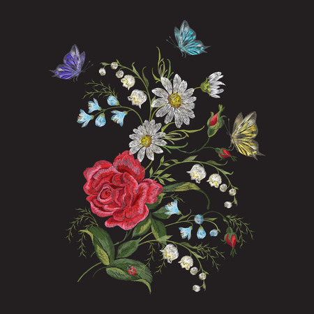 Embroidery brigt trend floral pattern with butterfly. Vector traditional folk roses, lilies and forget me not flowers bouquet on black background for clothing design.