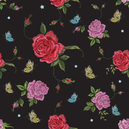 Embroidery native floral seamless pattern with red roses and butterflies. Vector traditional folk flowers decor on black background for clothing design.