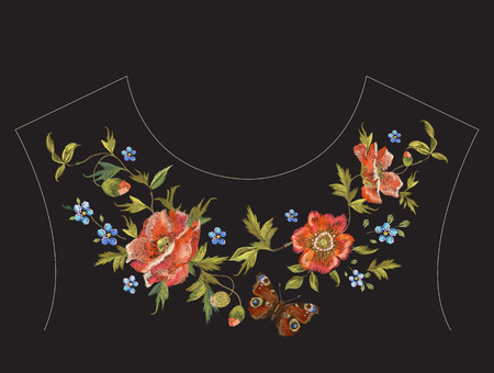 Embroidery floral neck line pattern with poppies and butterfly. Vector traditional embroidered design with flowers on black background for fashion clothing.