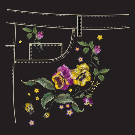 Embroidery floral pattern with pansies and ladybug for pocket of jeans. Vector traditional folk design with flowers on black background for clothing.