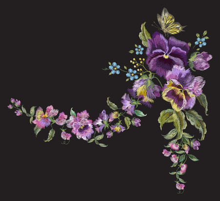 Embroidery colorful trend floral pattern with pansies and forget me not flowers. Vector traditional folk garland with butterfly on black background for clothing design.