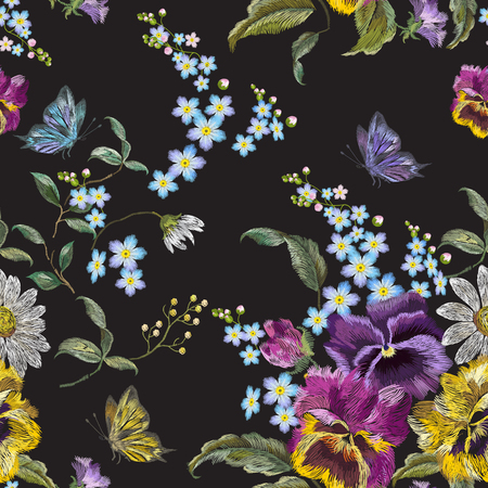 Embroidery floral seamless pattern with pansies, chamomiles and forget me not flowers. Vector traditional embroidered template with butterfly for clothing design.