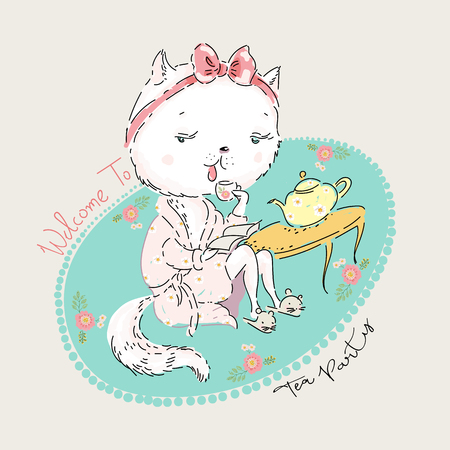 Cute cat in morning gown is drinking tea. Vector baby illustration for fashion apparels, t shirt and printed design.