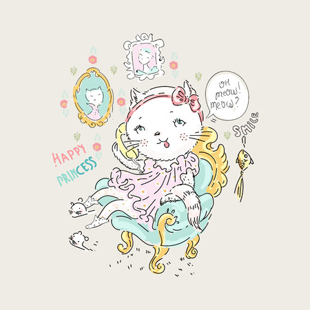 Cute cat princess phone in the armchair with gold fish and slogan. Vector baby illustration for fashion apparels, t shirt and printed design.