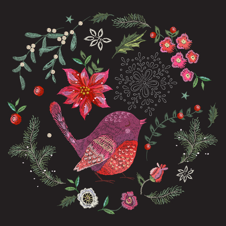 Embroidery christmas pattern with flowers, pine and bird. Vector embroidered new year floral elements for design. Stock Photo