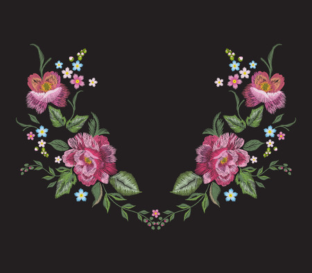 Embroidery floral neckline pattern with red roses. Vector embroidered bouquet with flowers for wearing design.