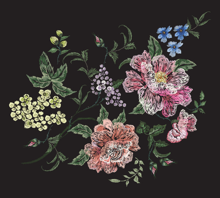 Embroidery floral pattern with rose, lilac and violets. Illustration