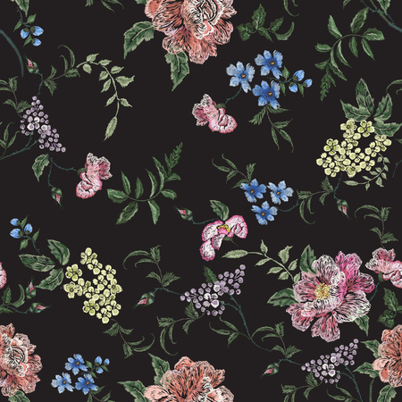 Embroidery floral pattern with rose branch, violets. Illustration