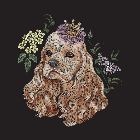 Embroidery floral pattern with dog in crown and lilac. Vector seamless embroidered template with flowers and animal for fashion design.