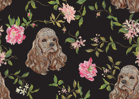 Embroidery floral pattern with dog and roses. Vector seamless embroidered template with flowers and animal for fashion design.