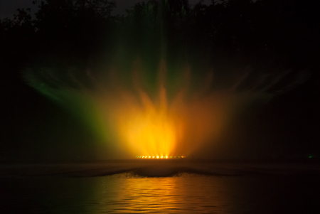 light show: Light and laser show fountain at night Stock Photo