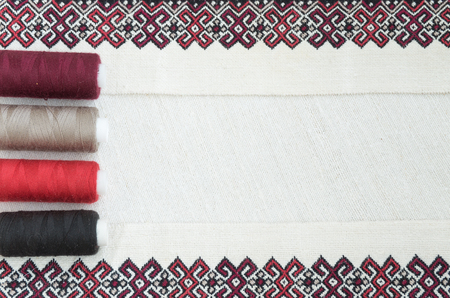 needlecraft product: Fragment of embroidery on linen and accessories