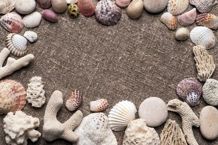 coral colored: White and colored seashells, coral and pebbles on sacking. Top view.