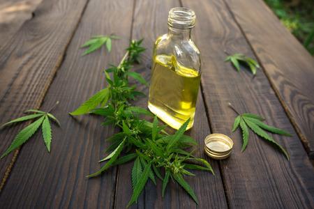 Las hojas de cannabis y una botella de aceite de cáñamo en superficie de madera oscura. productos de cáñamo. cultura técnica agrícola Foto de archivo