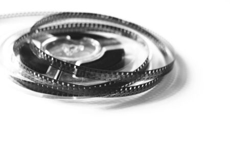 Old reels with black and white film of an amateur motion picture Stock Photo