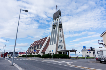 Hammerfest Church is the main parish church in Hammerfest Municipality in Finnmark county, Norway Zdjęcie Seryjne - 91341584
