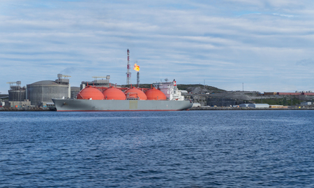 Plant on Melkoya where natural gas is converted into liquefied gas, Hammerfest, Norway Stock Photo