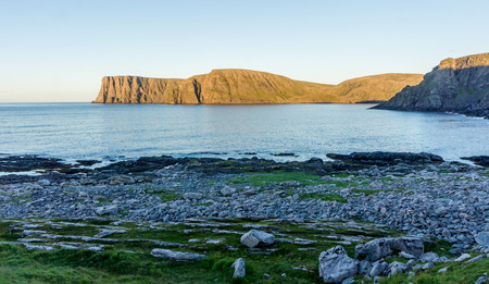 North Cape is a cape on the northern coast of the island of Mageroya in Northern Norway Stock Photo