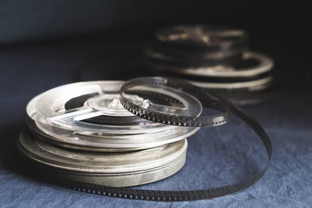 Old reels with black and white film