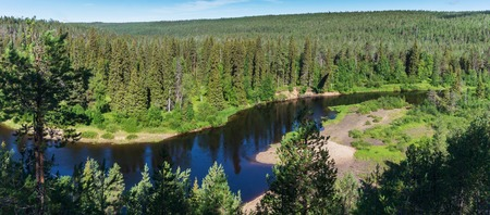 Green forest and blue river, Finland. Oulanka National Park Stock Photo