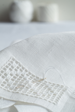 Fragment of hand embroidery by white hemstitch Stok Fotoğraf