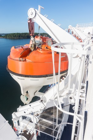 Lifeboat on deck of a ship Stock Photo