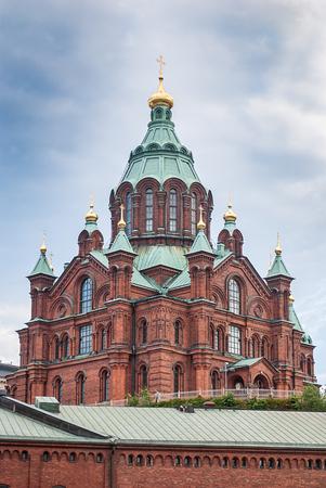 Uspenski Cathedral, Eastern Orthodox cathedral in Helsinki, Finland Stock Photo