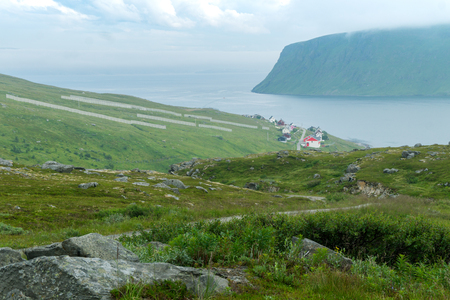 Akkarfjord is a small fishing village in Soroya island, Finnmark Stok Fotoğraf