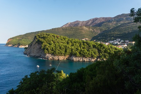Scenic view of the sea and mountains, Petrovac, Montenegro Banco de Imagens