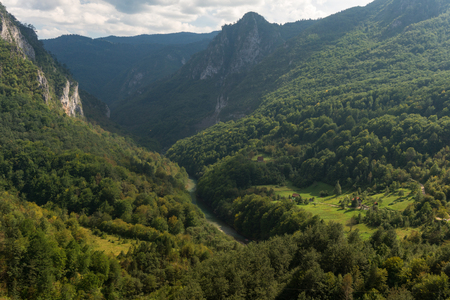 Scenic mountains and deep river Tara canyon, Durmitor National Park, Montenegro
