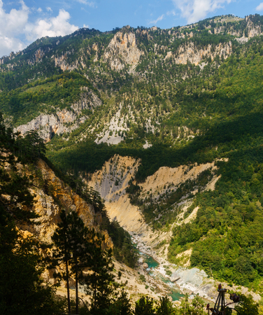 Picturesque wooded mountains in the river Tara canyon, national park Durmitor, Montenegro