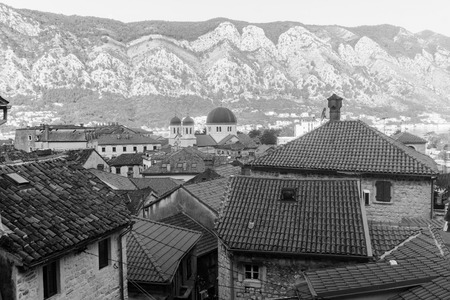 Tile roofs of old town of Kotor, Montenegro. Black and white