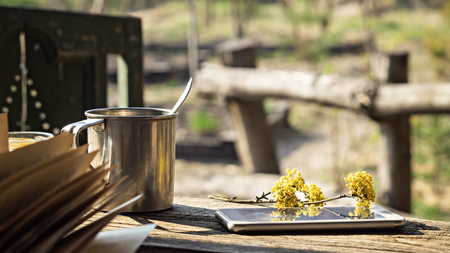 Metal mug, a flowering branch and a telephone on a wooden table in the garden Stock Photo