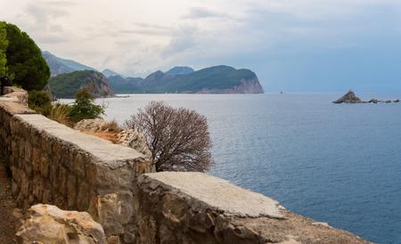 Scenic view of islands Sveta Nedelja and Katic, Petrovac, Montenegro