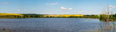 Panorama of farm fields with sunflowers and soybeans over the lake Stock Photo