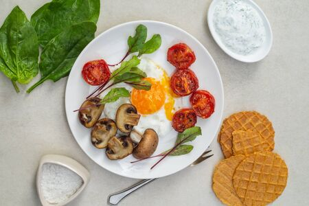 Nutritious breakfast of fried eggs, tomatoes, mushrooms with spinach, microgreen, bread chips and sauce on a white plate
