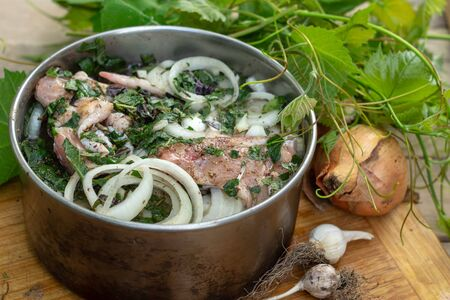 Marinated chicken with onions and herbs for grilling