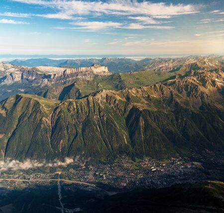 Chamonix Mont Blanc, France. Tourist and ski resort. View from Aiguille du Midi
