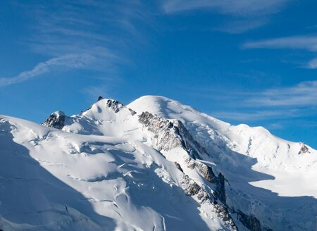 Mont Blanc, the highest point in western Europe, mountain range in the French and Italian Alps Stok Fotoğraf