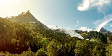 Mountain peaks and glacier on Mont Blanc Massif. View from Chamonix, France