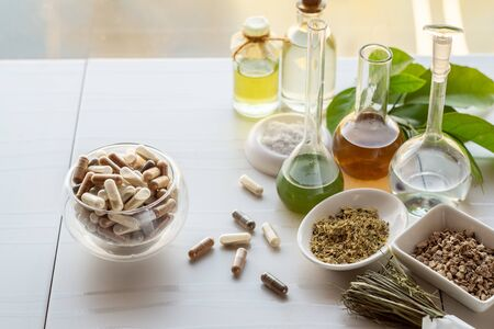 Capsules with dietary supplements. Ingredients for making food supplements, tinctures, oils, herbs