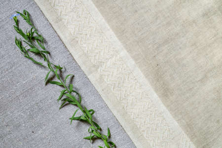 Old homespun and modern factory linen fabrics and flowering flax plants