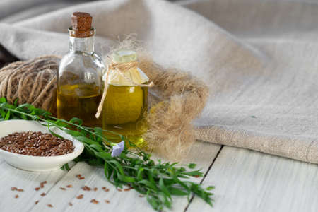 Flax products, linen textiles, rope, threads, linseed oil, flax seed and blooming flax