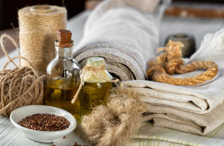 Flax products, linen textiles, rope, threads, tow, linseed oil and flax seed