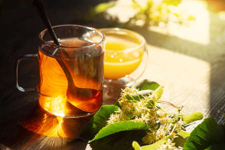 Hot linden blossom drink, honey and flowering branch Archivio Fotografico