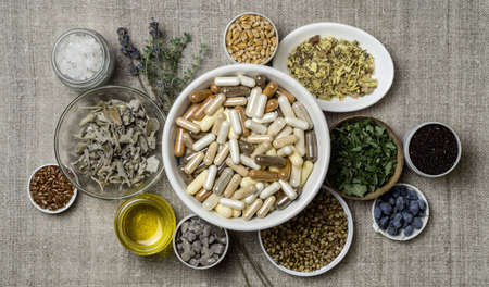Herbal and mineral organic dietary supplements in capsules