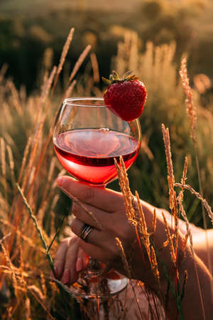 Outdoor picnic in the grass in summer at sunset. The rays of the sun are reflected in the red wine glass in a womans hand. The border is decorated with strawberries. Zdjęcie Seryjne