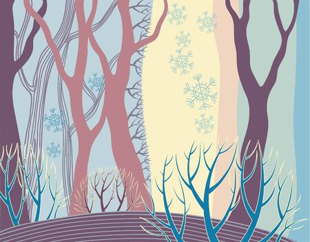 Vector winter forest pattern. Hand drawn trees without leaves on light blue background. Snowy weather. Wallpaper, textile, print design