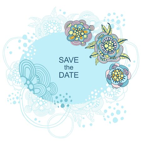 ard template with decorative flowers. Wedding invitations. Thank you, save the date invitation card graphic banner.